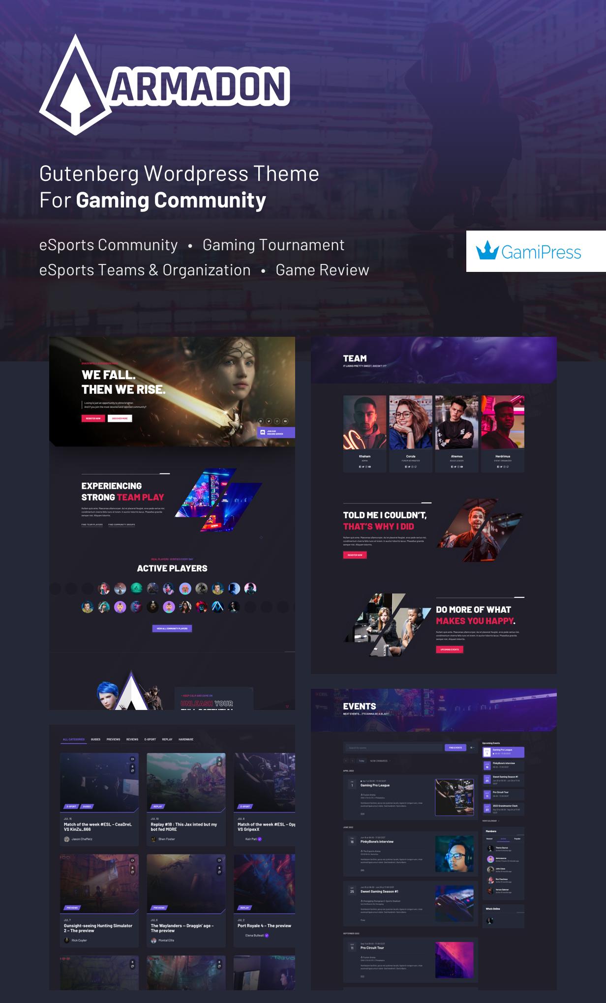 Armadon - Gutenberg WordPress Theme & For Gaming Community - 1