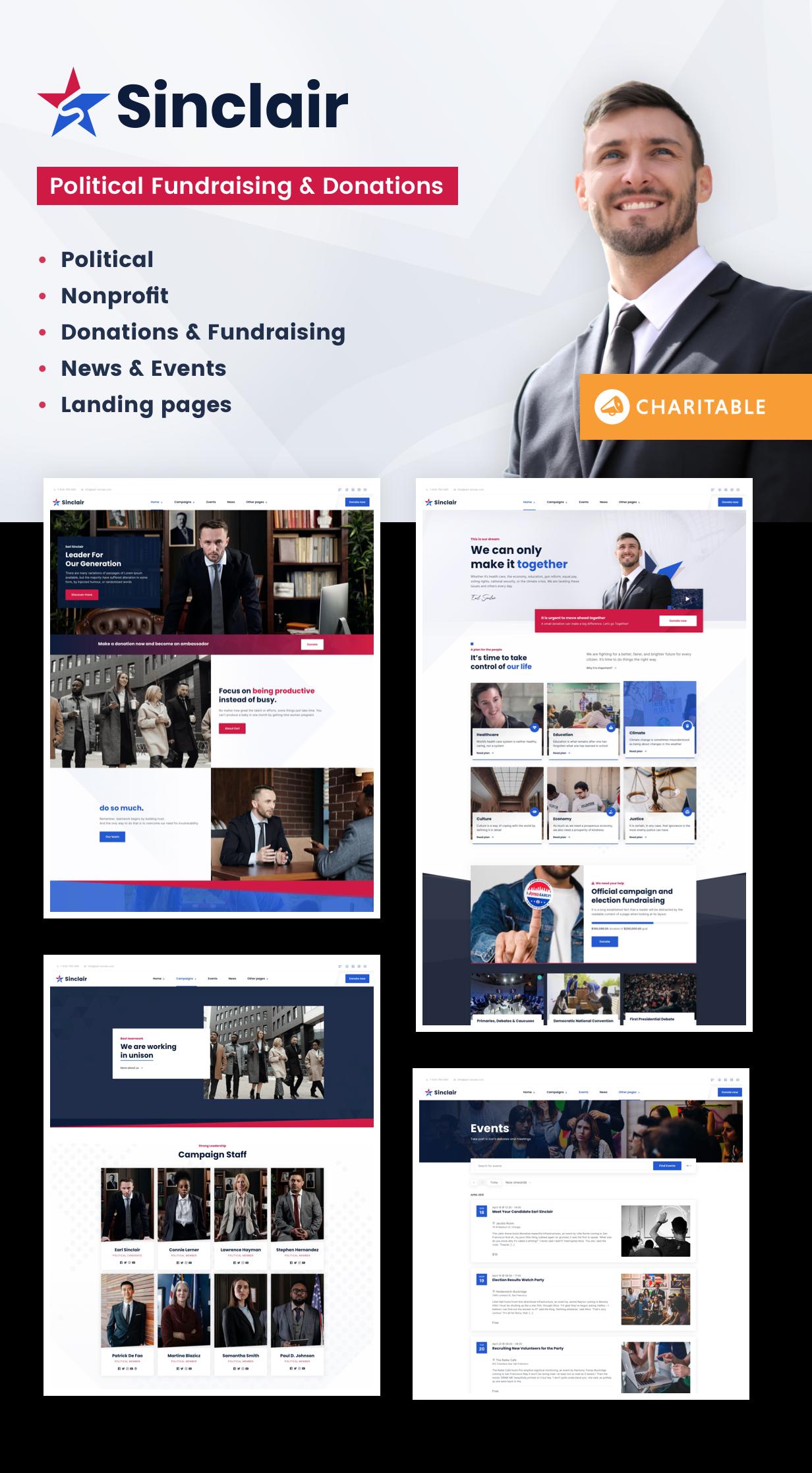 Sinclair - Political & Donations WordPress Theme - 1
